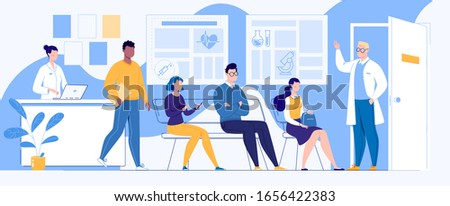 People patients are sitting in the waiting room, waiting for a meeting with the doctor. Receptionist nurse at the counter. Doctor in uniform. Modern clinic. Interior. Vector illustration in cartoon.