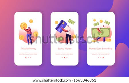 People Paying with Cash and Credit Cards Mobile App Page Onboard Screen Set. Characters Use Live Money and Banking Transactions for Pay Concept for Website or Web Page. Flat Vector Illustration