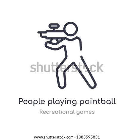 people playing paintball outline icon. isolated line vector illustration from recreational games collection. editable thin stroke people playing paintball icon on white background Stock photo ©