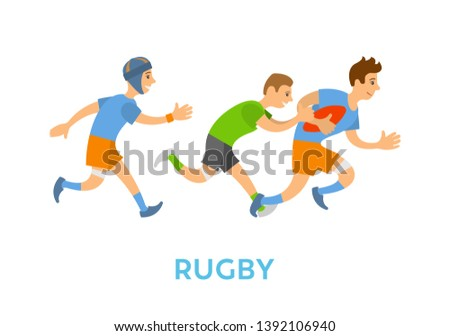 People playing rugby in team vector, aggressive kind of sports isolated players with ball running and chasing competitive. Athletes sportsmen in uniform