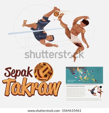 People playing Sepak takraw. Sepak takraw player in action. bicycle kick.