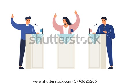 People politicians standing on tribunes with raising hands vector isometric illustration. Man and woman at political debates, pre-election campaign or agitate isolated on white. Candidate meeting