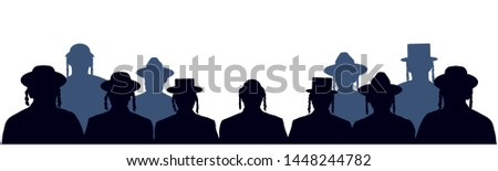 People portrait Israelite. Jewish head profile avatar icons. Crowd of people of Jewish nationality. Audience public auditory. Silhouette vector set ストックフォト ©