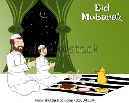 people praying before eating food