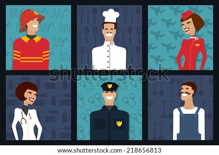 People profession and occupation. Firefighter, cooker, stewardess, doctor, policeman, worker. Vector set.