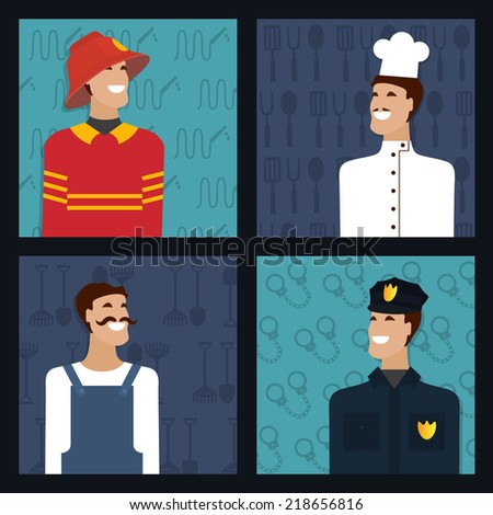 People profession, man occupation. Firefighter, cooker, policeman, worker. Vector set.