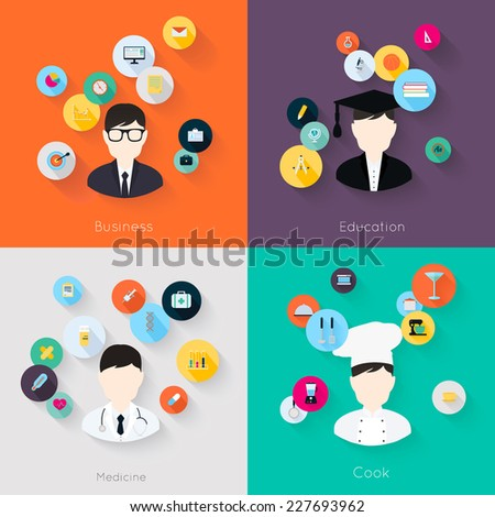 People professions concept flat icons set of cook doctor businessman and student jobs for infographics design web elements vector illustration