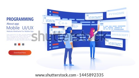 People programmers coding and correct errors in project. Dashboard screen with program code. Programmer at work concept banner. Can use for web banner Trendy flat style. Isometric vector illustration