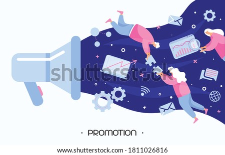 People promoting digital companies using a big loudspeaker and draw attention to business. The marketing team levitate in space and make public relations. Modern flat people vector illustration. Promo ストックフォト ©