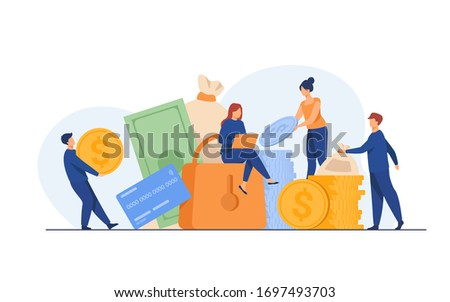 People protecting their cash. Men and women taking out financial insurance, defending money, business, bank account. Vector illustration for finance, safety, assurance, guarantee concept Stockfoto ©