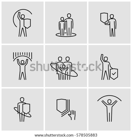 People protection concept vector line icons