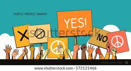 people protest hands with banners. vector illustration