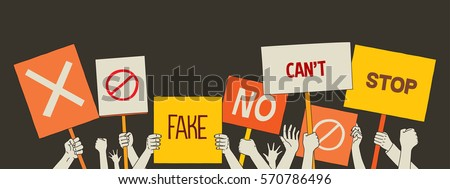 people protest meeting hands set with banners. isolated vector illustration icons
