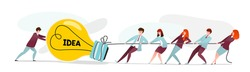 People pull idea. Team of office workers and businessmen pulling the rope with light bulb, project startup. Vector cartoon characters with rope, presentation creative innovate ideas