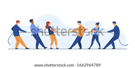 People pulling opposite ends of rope flat vector illustration. Tug of war contest between office workers. Competition challenge and confrontation concept Photo stock ©