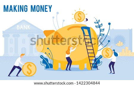 People Put Money in Piggy Bank. Making Monay. From Poverty to Wealth. Achive Goal. Vector Illustration. Way to Victory. Earn Money. Financial Stability. Bank Money System. Toss Coins into Piggy Bank.