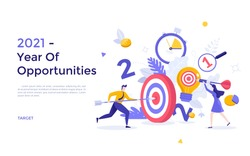 People putting arrows and darts into shooting targets. Concept of 2021 as year of opportunities for business goal achievement, task accomplishment, project completion. Modern flat vector illustration.