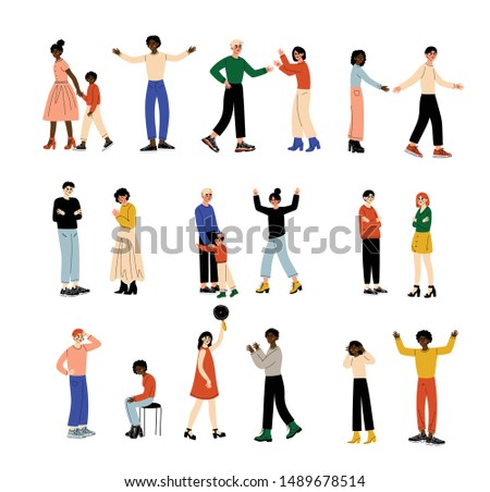 People Quarreling Set, Family Conflict, Divorce, Conflict Between Husband and Wife, Negative Emotions Vector Illustration