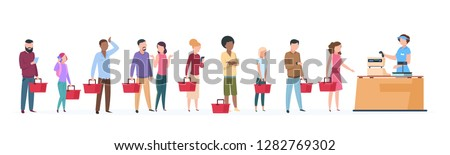 People queue. Man and woman standing waiting in long line row. Crowded queue in grocery store vector concept