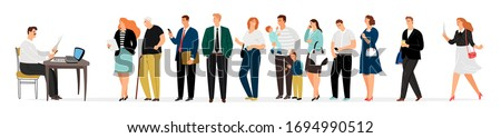 People queue. Man takes documents, secretary. Businesspeople, parents, elderly in waiting line vector illustration