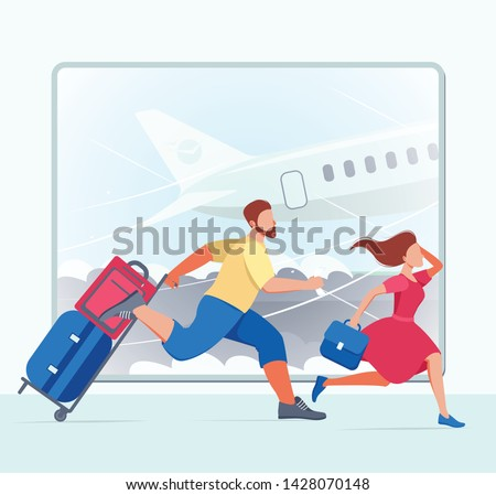 People ran to the plane of the illustration. People in a hurry. A man and a woman are afraid to miss the plane. People are in a hurry for vacation.