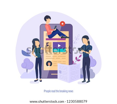 People read breaking news. Business news, interview, press conference, read reviews. Mass media interview. Devices for reading news, on tablet, phone, in mobile application. Vector illustration. #1230588079