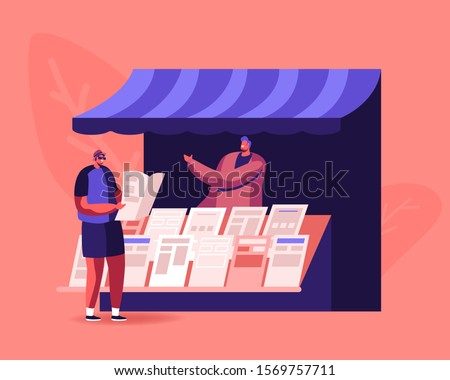 People Reading and Selling Newspapers. Male Character Stand at Kiosk Read News while Walking on Street. Person Buying Magazine at Booth Outdoors. Press Media Business. Cartoon Flat Vector Illustration