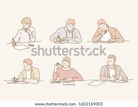 People reading books and study. Hand drawn style vector design illustrations.