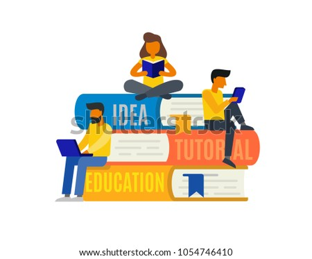 People reading books sitting on a stack of books. Vector illustration