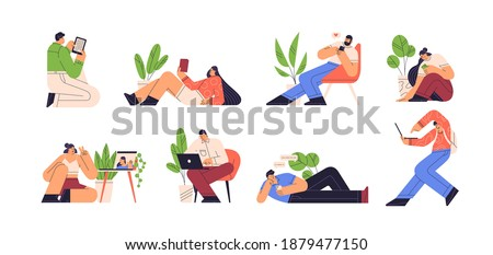 People reading e book and using gadgets vector flat illustration. Set of men and women chatting, doing a video call and surfing internet isolated. Characters with smartphone, laptop and tablet