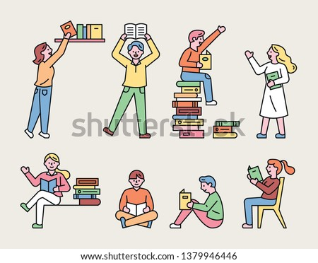 People reading in various poses. simple character source. flat design style minimal vector illustration