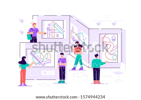 People regarding creative artworks or exhibits in museum. Exhibition visitors viewing modern abstract paintings at contemporary art gallery. Colorful vector illustration in flat cartoon style for web