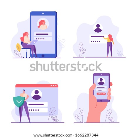 People register online set. Registration or sign up user interface. Users use secure login and password. Collection of online registration, sign up, user interface. Vector illustrations for UI, app