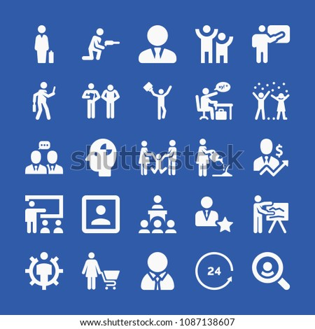 People related set of 25 icons such as manager, humanpictos, worker, businessmen, drill, businessman, 24 hours, shopping, kids, parents, teacher, presentation, class, watering #1087138607