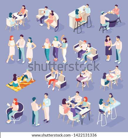 People relaxing and drinking beer wine champagne cocktails at restaurants and at home isometric icons set 3d vector illustration