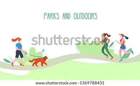 People relaxing in nature in a beautiful urban park. Flat figures of human walking outdoors. Outdoor activities