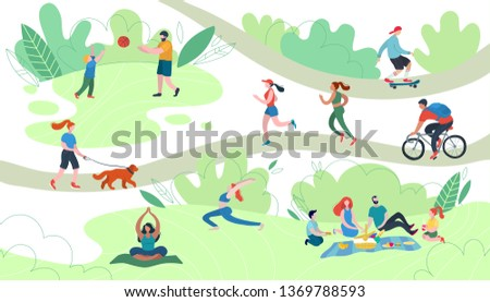 People relaxing in nature in a beautiful urban park. Flat figures of human walking outdoors. Outdoor activities