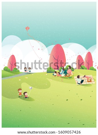 People relaxing in nature in spring or summer time at the park.Poster of spring .Family outing to the park or picnic.Kid play kite,butterfly and apple flower blossom.People in spring or summer concept