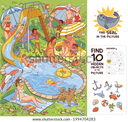 People relaxing in the courtyard by the pool with water attractions. Find 10 hidden objects in the picture. Find Seal. Puzzle Hidden Items. Funny cartoon character. Vector illustration