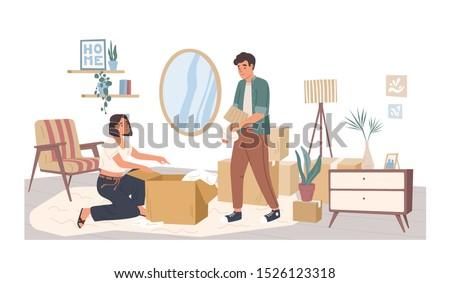People relocating to new apartment flat vector illustration. Man and woman cartoon characters packing belongings. Young couple unpacking furniture in living room. House moving concept.
