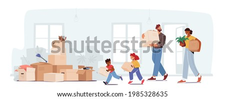 People Relocation, Happy Family Moving into New House. Mother, Father and Little Children Carry Boxes and Things to Home. People Buying Real Estate Apartments for Living. Cartoon Vector Illustration Foto stock ©