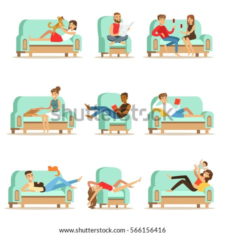 people resting at home relaxing