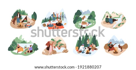 People resting in nature on adventure holidays. Set of families and friends relaxing outdoors. Colored flat cartoon vector illustration of winter and summer travelings isolated on white background