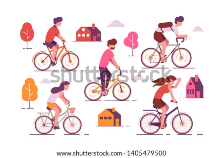 people riding bikes vector