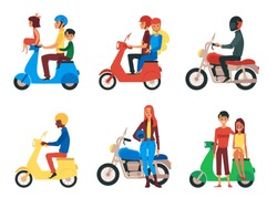 People riding motorcycle - flat cartoon set isolated on white background. Man, woman, family and couple sitting and standing next to motorbike or scooter - vector illustration.