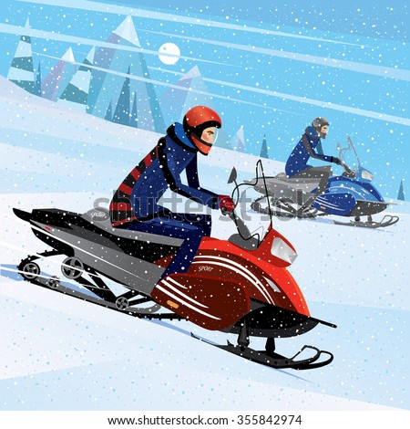 People riding on a snowmobile - winter sport concept. Vector illustration Stock photo ©