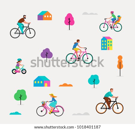 People riding on bicycles in the park, outdoor scene with active family vacation. Vector illustration, pattern