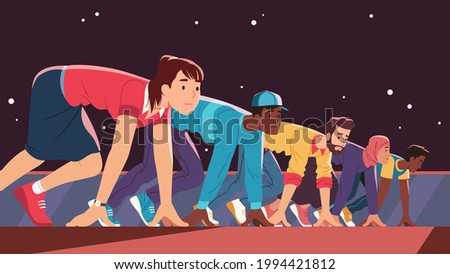 People rivalry, competition concept. Different nations and color persons standing crouching at starting line position, getting ready to run race and compete against. Flat vector character illustration Photo stock ©