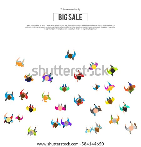 People run to an inscription. People top view isolated on white background. Big sale concept. Template for design, website or presentation