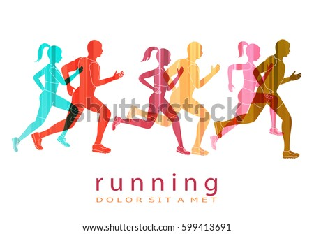 people running marathon logo